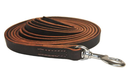 Dean and Tyler Stitched Track Dog Leash, Brown 50-Feet by 3/4-Inch Width with Stainless Steel Hardware