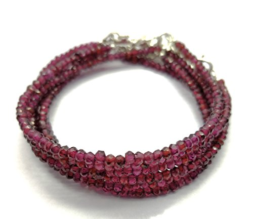 Beauty for the semi-precious stone like Natural Rhodolite Garnet 3 mm Faceted Beaded silver lock 7 inch Long Bracelet.