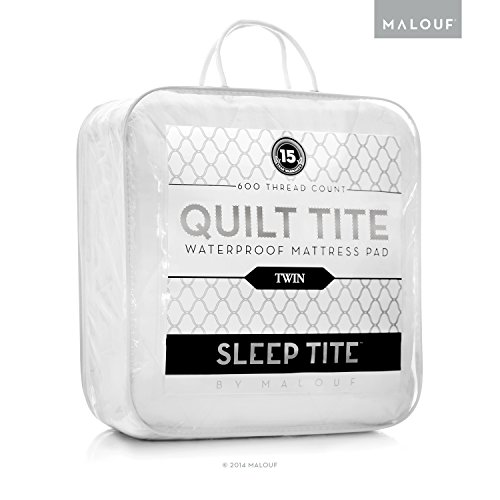 SLEEP TITE QUILT TITE 600TC 100% Cotton Waterproof Quilted Mattress Pad - Overfilled with Gelled Microfiber Topper - Queen
