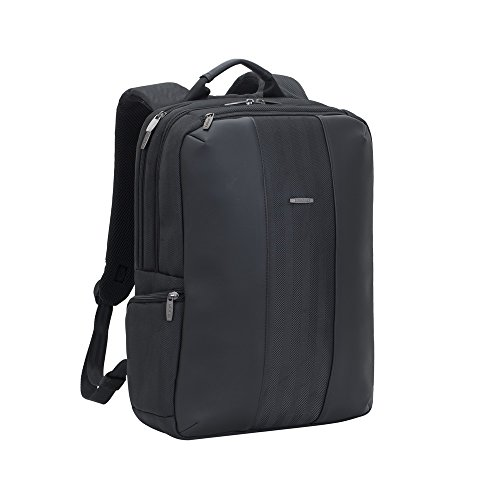 (Rivacase 8165 15.6 Inch Anti Theft Backpack - Unisex Business Travel Laptop Tablet Backpack - Waterproof Tweed Bag with Airport Friendly Gadget Compartments and Ventilated Shoulder Straps - Black )