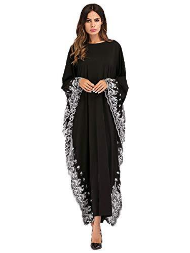 Yuntown Women Farasha Kaftan Dress - Arabic Islamic Long Round Neck Abaya Jilbab