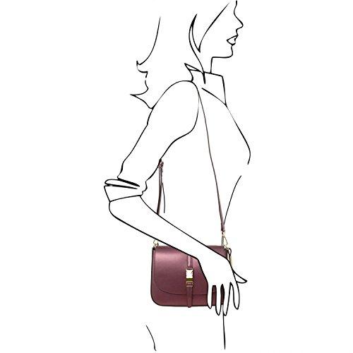 Tuscany Leather Nausica Bolso en piel Ruga metallic Bordeaux Bolsos de asa larga Bordeaux