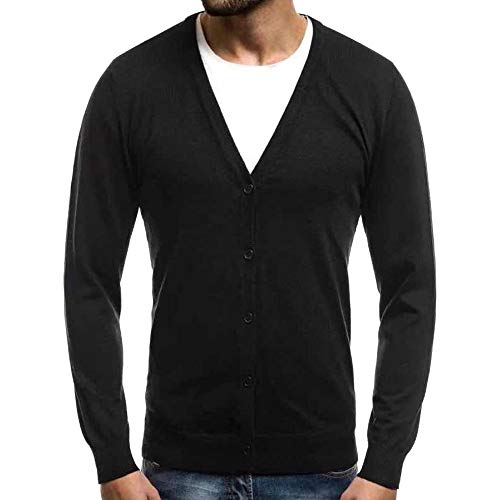 Pgojuni Men's Spring Warm Pullover Cardigan Button Tops Knitted Sweater Casual Blouse Sweatshirts Black