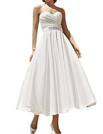 D W U Ankle Length Chiffon Bridal Ball Gown Wedding