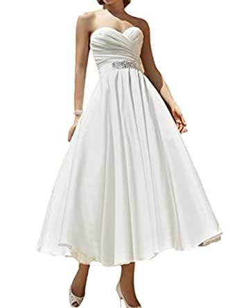 D w u ankle length chiffon bridal ball gown wedding for Amazon cheap wedding dresses