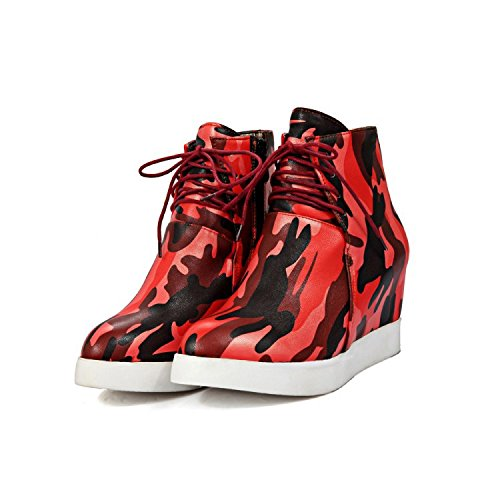 Aisun Damen Tarnung Unsichtbare Erhöhung Plateau Dicke Sohle Schnürsenkel Fashion Sneakers Rot