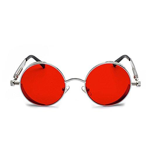 sol metal círculo de de Gafas de Caja de de Rojo Lente Huicai Marco Océano color Gafas de moda de Plata sol retro 8pOvBAq