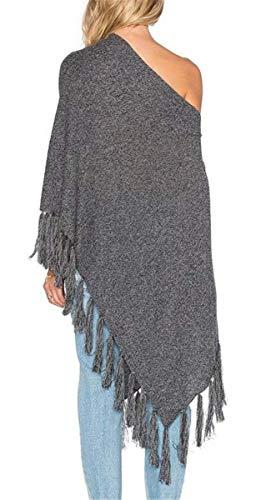Neck Neck Neck Cardigan Elegante Single Moda V Casual Outerwear Breasted Grau Grau Grau Grau Autunno Donna Capa Scialle Primaverile Irinay con Sciarpa Vintage Chic Nappe qfnBSTwvx