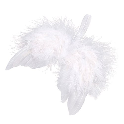 (surepromise 10 Angel White Feather Wing Christmas Tree Decor Hanging Ornament Wedding Prop)