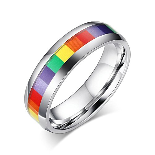 ANAZOZ Stainless Steel Rings for Men Wedding Rings Colorful Circle 0.6CM Size 10 ()