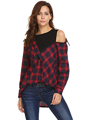Beyove Women Fake Two Piece Long Sleeve Casual Crop Top Patchwork Plaid Button Shirts, Red, (Plaid Crop Jacket)