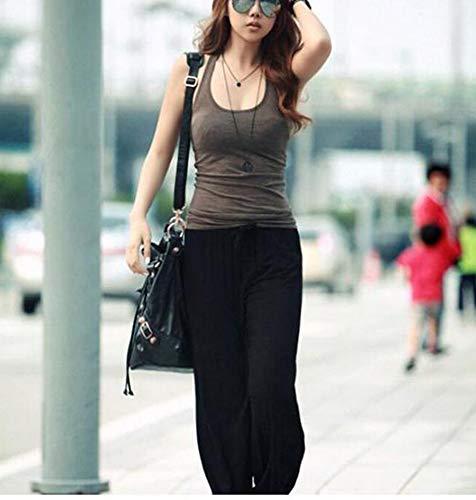 Deportivos Cintura Yoga Holgados Elástica Negro Huateng Pantalones De Mujer Casuales Cómodos fwPS0TI