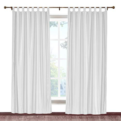 cololeaf Vintage Textured Faux Dupioni Silk Curtain Tab Top for Traverse Rod Or Track, Living Room Bedroom Meetingroom Club Theater Patio Door,Egg White 100W x 84L Inch (1 panel) (Dupioni Striped Curtains Silk)