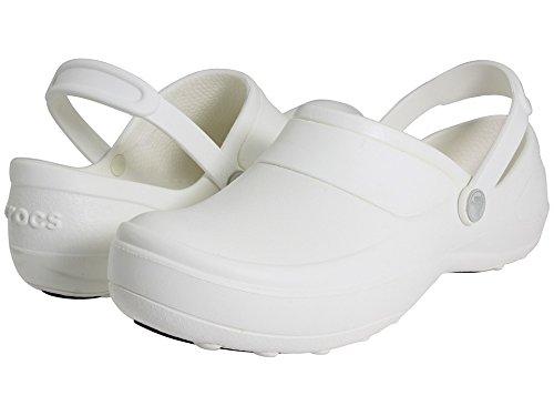 Shoe Front Croc (crocs Women's Mercy Work Clog,White/White,9 M US)