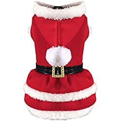 Norbi Dog Cat Pet Clothes Christmas Costume Red Pleated Dress