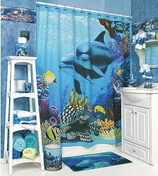 DOLPHIN Deep Blue Ocean Sea Tropical Reef Fish Coral Complete BATHROOM  ACCESSORY SET Toothbrush Holder,
