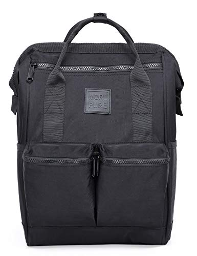 DISA Chic Doctor Bag Style College Backpack Travel Daypack | 17.3x10.6x6.7in | Black