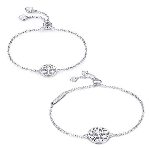 (WISHMISS 2 Pieces Family Tree Bracelet 925 Sterling Silver Tree Life Charm Bracelets Set Sister Friendship)
