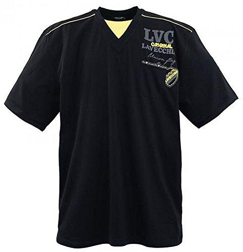3858A Schwarz Two in One Herren Übergrößen Lavecchia T-Shirt Gr. 3-7 XL