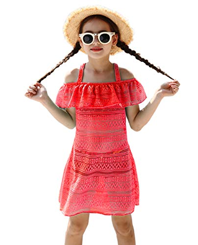 Girls' Cover-ups Swimsuit Fashion Off Shoulder Beach Dress Top Pull On Cover Up Neon Red ()
