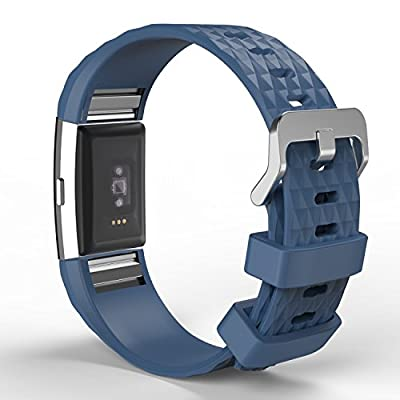 """Fitbit Charge 2 Band, MoKo Soft Silicone Adjustable Replacement Sport Strap Band for 2016 Fitbit Charge 2 HR Heart Rate + Fitness Wristband, Wrist Length 5.70""""-8.26"""" (145mm-210mm)."""