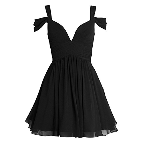 Elley Women's A Line Chiffon V-Neck Straps Ruched Bodice 2016 Short Homecoming Dress Mini Party Gown Black US4