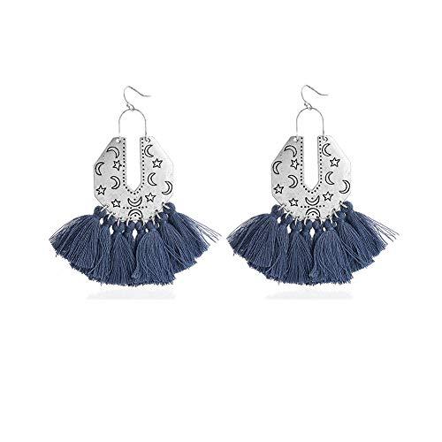 Gudukt Tassel Earrings Blue Statement Star Moon Pattern Big Geometric Dangle Drop Earrings For Women