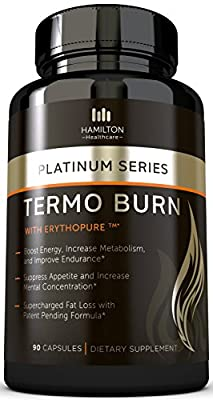Thermogenic Fat Burner with Patent Pending Formula, 100% Natural and Unique Formula with Proven Ingredients - Burn Fat, Boost Energy, and Increase Focus By Hamilton Healthcare
