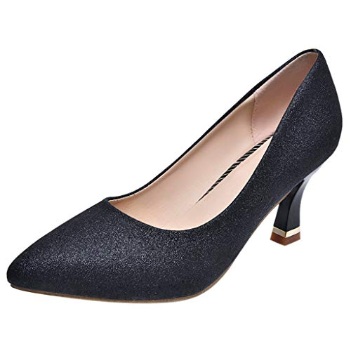 REYO Women Fashion Pointed Toe Breathable Sequin Casual Jobs Party Slip-On Single Shoes Waterproof Walking Shoes