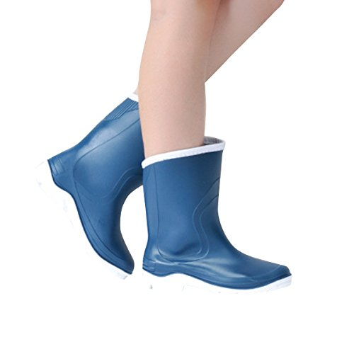 Round Toe Dear Waterproof Mid Color Time Pure Blue Rainboots Calf Boots Women w8a1w0