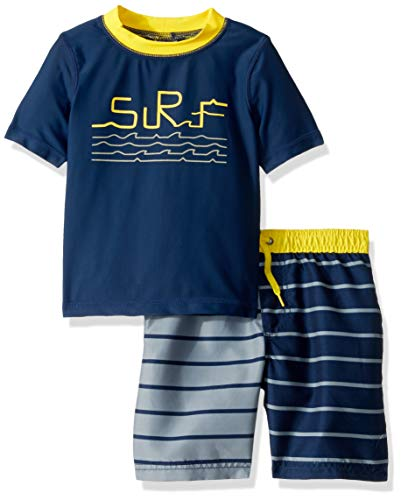 Swim Trunk Set - KIKO & MAX Little Boys' Swimsuit Set with Short Sleeve Rashguard Swim Shirt, Surf Navy/Yellow, 6