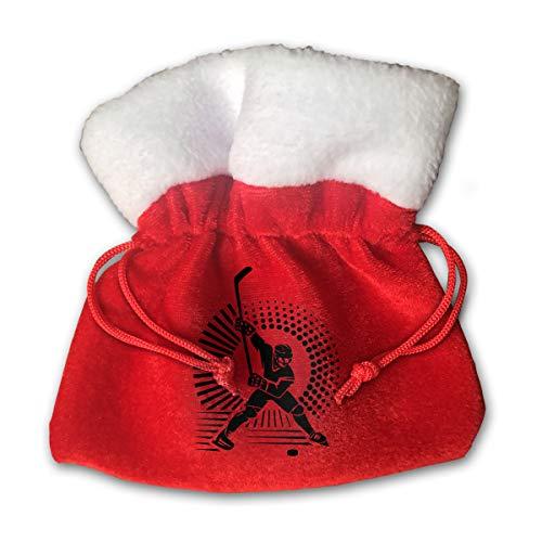 Sfgggerrd Ice Hockey Sport Skyline Reusable Kids Christmas Drawstring Pouches Candy Jewelry Gift Bag Santa Present