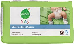 Seventh Generation Chlorine Free Baby Diapers, Newborn (Up to 10 Lbs), 40 Count (Pack of 4)