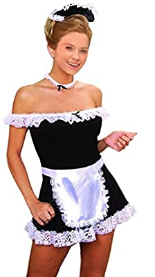 Women's Sexy Maid Costume 5 Pieces Off the Shoulder Dress Apron Neck Head Piece