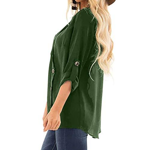 con donna Camicetta Camicetta lunghe a Bottoni Plus Angelof V Size maniche Elegante Tee Green scollo Casual Ragazza Fit Slim qwXtdqI