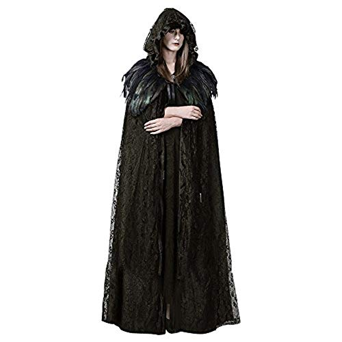 (Homelix Steampunk Womens Witch Cape Black Hooded Lace Feather Long Cloak Halloween Costume)