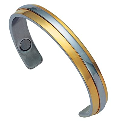 Unisex Adjustable-fit Stainless Steel 14k Gold Plated Magnetic Health and Golf Cuff Bracelet