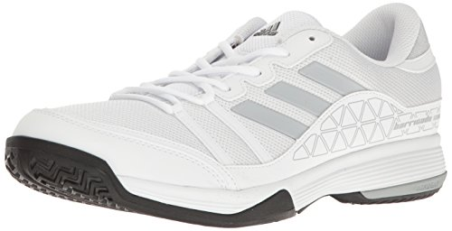 adidas Men's Barricade Court Tennis Shoes White/Light Onix/Black (11.5 M US)