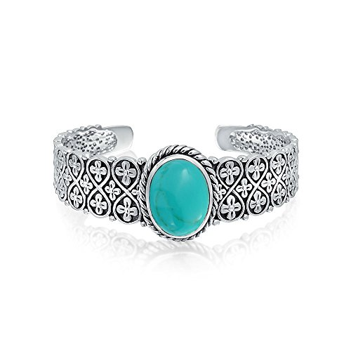 (Southwestern Style Oval Cabochon Stabilized Turquoise Cuff Bracelet For Women Flora Lattice Link 925 Sterling Silver)