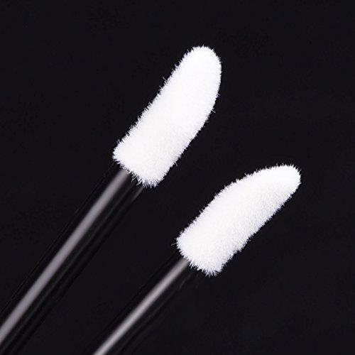 eBoot 100 Pieces Disposable Lip Brushes Lipstick Gloss Wands Applicator Makeup Tool Kits, Black