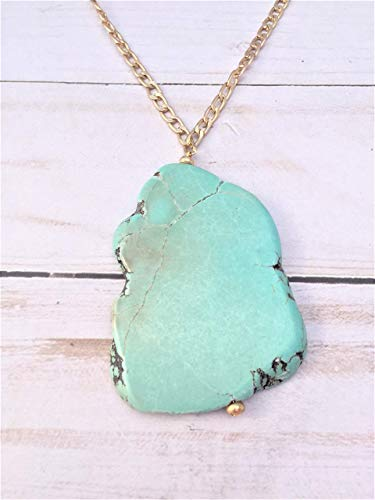 - Gold and Turquoise Long Pendant Necklace