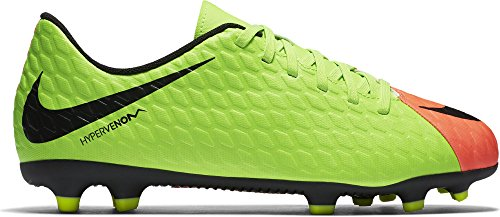 Nike Kids Jr. Hypervenom Phade III (FG) Firm Ground Soccer Cleat Electric Green/Black/Hyper Orange/Volt Size 1.5 M US