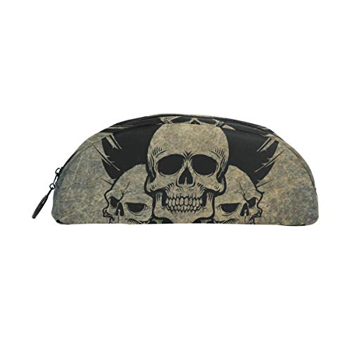 Skull Crossbones Wings - MUOOUM Awesome Skull Crossbones Wings Pencil Case Semicircle Stationery Pen Bag Pouch Holder for School Office Supplies