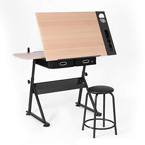 VIVOHOME Adjustable Height Drafting Desk Drawing Table with 2 Storage Drawers and Stool for Kids Adults Artists