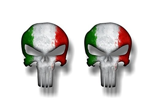 Two (2) Pieces Punisher Italian Flag - Hard Hat, Tool Box Stickers | 100% PVC