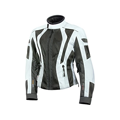 Olympia Airglide 5 Womens Mesh Tech On-Road Racing Motorcycle Jacket - Ivory/Pewter / Medium