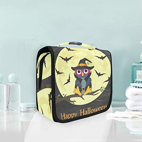 Toiletry Bag Halloween Owl In Witch Costume Hanging Organizer Bag Wash Gargle Bag Cosmetic Bag Portable Makeup Pouch with Hanging Hook Travel]()
