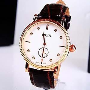 ZA Men's Round Dial Two Needle PU Band Waterproof Quartz Fashion Watch (Delivery color random)
