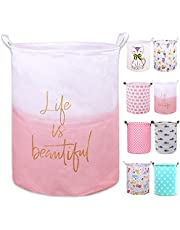 """PFONB 19.7"""" Large Collapsible Laundry Basket,Waterproof Sturdy Canvas Round Clothes Hamper Home Organizer, Gift Basket.(salmon pink life)"""
