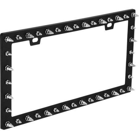- Spike Black Chrome License Plate Frame-Bell-22-1-63173-W